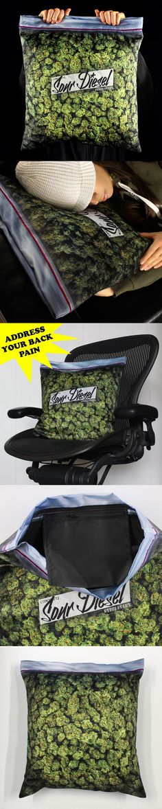 Giant Stash – Baggie of Cannabis Pillowcase:: Own a pillowcase that looks like a giant bag of weed Zipper top neatly functions like a ziplock Top shelf Sour Diesel in lush, vivid color with black interior lining The 17Wx19H (inch) sized case is designed for a 18″-20″ insert Internal aromatherapy stash pocket for, you know . . . the goods