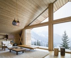 """International architectural firm Studio Razavi architecture designed Mountain House, a modern alpine chalet located in Manigod, France and completed in """"In this highly preserved Alpine valley… Mountain Cottage, Mountain Homes, Alpine Mountain, Alpine Modern, Alpine Chalet, Light Hardwood Floors, Cabin Interiors, Home Studio, House And Home Magazine"""