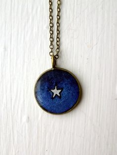 White Star Necklace  Hand Painted Watercolor Art by jojolarue