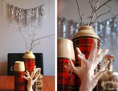 Vintage red plaid Thermos centerpiece with 'snow' painted twigs and silver tinsel wall garland