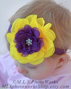 Items similar to Bright Yellow & Deep Purple Pansy Headband - Baby Girl Pansy Flower Headband - Girl's Bold Pansy Blossom Hair Bow on Etsy Baby Girl Headbands, Elastic Headbands, Baby Bows, Bright Summer Outfits, Pansy Flower, Wedding Headband, Diy Hair Accessories, Bright Yellow, Pansies