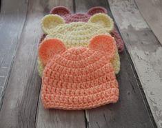 Baby teddy bear hat crochet pattern
