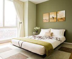 Olívzöld falszín hálószobában a nyugodt alvásért