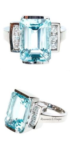 Rosamaria G Frangini | High Blue Jewellery | Natural Aquamarine and Diamond Ring, Dramatic and stylish natural untreated Aqua ring set safety and comfortably in a semi bezel ring by the maker LAB. 14k White gold. Mid 1960s.