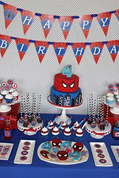 Awesome dessert table at a Spiderman birthday party! See more party planning ideas at CatchMyParty.com!