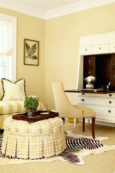 Suzie: ML Interior Design - Elegant, sophisticated office with cafe au lait paint color, French . Boho Chic Interior, Interior And Exterior, Interior Design, Interior Decorating, Decorating Ideas, Hickory Chair, Woman Cave, Cozy Corner, Creative Decor