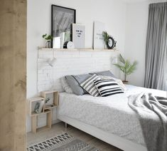 ▷ 1001 + ideas for making an original wooden headboard - Home Page White Bedroom, Master Bedroom, Scandinavian Style Bedroom, Bedding Inspiration, Green Bedding, Stylish Bedroom, New Room, Bed Spreads, Room Decor