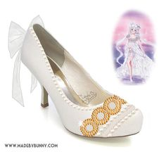 PRINCESS SERENITY | Sailor Moon | Bishōjo Senshi | Crescent Moon | Shoe Design for Heels with Crystal Rhinestones, Glitter, Pearls, & Bows