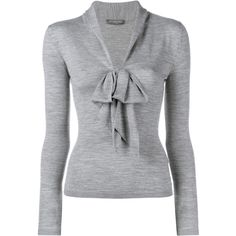 Alexander Mcqueen Wool Bow Jumper ($890) ❤ liked on Polyvore featuring tops, sweaters, shirts, blouses, alexander mcqueen, grey, deep v neck shirt, form fitting shirts, alexander mcqueen shirt and gray shirt