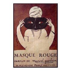Vintage Paris Perfume Label, Masque Rouge