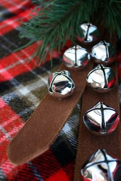 Sleigh Bells - that jingle all the way. Tartan Christmas, Christmas Jingles, Cabin Christmas, Christmas Bells, Country Christmas, Christmas Colors, White Christmas, Christmas Holidays, Christmas Decorations