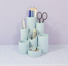 Vintage Light Blue Helix Desk Tidy Pen Pot Made In by LEADorDEAD, £35.00