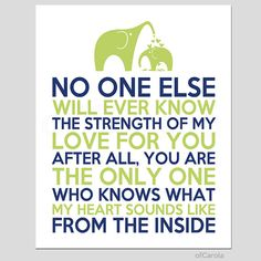 """No One Else Will Ever Know Quote Print MOTHER CHILD Boys Girls Baby Nursery Wall Art Love Elephant Navy Blue Lime Green White ofcarola 8x10"""" on Etsy, $15.00"""