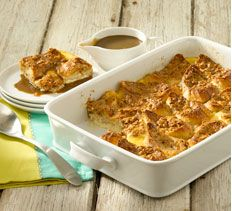 Coffee Liqueur Bread Pudding With Caramel Sauce Recipe — Dishmaps