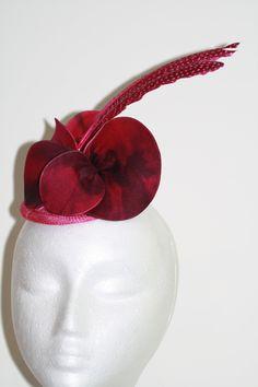 Pink/Fuchsia Black Feather Fascinator Etsy.