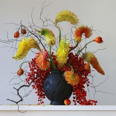 'Red Hot Pokers, Berries, Rose Hips and Twigs, 5.20 pm'. Image by Emma Bass
