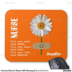 Nurses Day / Nurses Week / Graduation from Nursing School / Any occasion Gift Mousepads for nurses with customizable name . Matching card, postage stamp and other products available in the Business Related Holidays / Nurses Day Category of the artofmairin store at zazzle.com