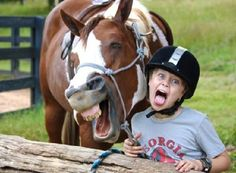Say what? Kid and horse laughter.