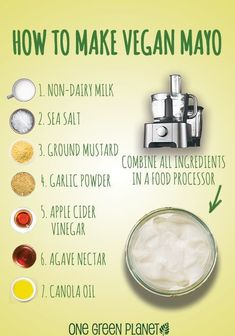 Homemade Vegan Mayo By making your own mayo you can control exactly what goes in it. Oh, and it's way cheaper than buying vegan mayo or eve. Vegan Sauces, Vegan Foods, Vegan Dishes, Vegan Meals, Vegan Desserts, Vegan Cru, Roh Vegan, Vegetarian Recipes, Healthy Recipes