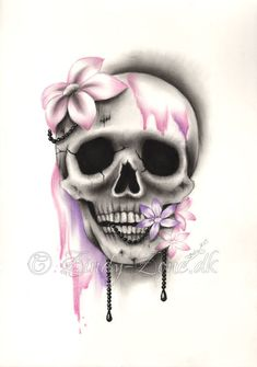 Sweet Decay Skull Flower Pink Purple Girl Tattoo by zindyzone