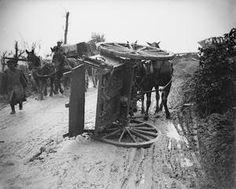 WWI, Oct 1916, Somme; An overturned horse-limber, Fricourt-Mametz road. © IWM