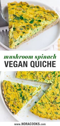 Easy Vegan Quiche with spinach, mushrooms and a wholesome crust. Easy Vegan Quiche with spinach, mushrooms and a wholesome crust. Vegan Appetizers, Easy Appetizer Recipes, Vegan Recipes Easy, Vegetarian Recipes, Delicious Recipes, Vegan Breakfast Recipes, Brunch Recipes, Drink Recipes, Tofu