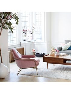 west elm Valentina Armchair, Pink Grapefruit Velvet at John Lewis & Partners Ikea Furniture, Modern Furniture, Steel Furniture, Rustic Furniture, Bar Chairs, Dining Chairs, Desk Chairs, High Chairs, Wayfair Living Room Chairs