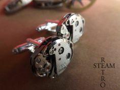 Gemelos Steampunk, gemelos para bodas, mecanismos de relojes antiguos