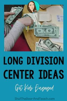 These long division activities give students hands on practice for long division. Learn how to use play money as manipulatives for hands on practice in centers or intervention groups. Click to read at Shut the Door and Teach. #WithRemainders #4thgrade Upper Elementary Resources, Elementary Math, Math Games, Math Activities, Teaching Long Division, Division Activities, Play Money, Fourth Grade Math, Common Core Math