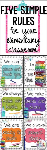 Five Simple Rules for your Elementary Classroom: Keep behavior management simple with clear and concise expectations for students. Watercolor poster set is perfect for back-to-school decoration as you introduce students to your classroom routines.