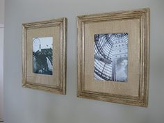 Potterybarn Knockoff Mat for Frame:  Cut an X in the burlap, then fold  the burlap over your mat tightly.  Use a hot glue gun to secure the edges down.  I love the texture that these burlap mats add to these architectural prints!