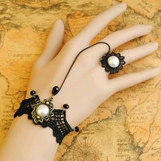 Victorian Gothic Lolita BLACK lace bracelet PEARL w chain n ring Costume wedding…