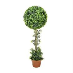 $65-3' Potted Two-Tone Artificial Boxwood Ball Topiary Tree