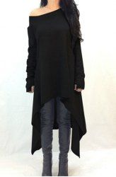 Casual Skew Neck Long Sleeve Solid Color Asymmetric Dress For Women (BLACK,3XL) | Sammydress.com Mobile