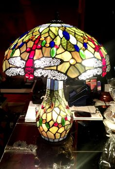 "Tiffany Tischlampe ""Libelle"" Grünton Table Lamp, Lighting, Home Decor, Atelier, Tiffany Table Lamps, Handmade, Corning Glass, Table Lamps, Decoration Home"