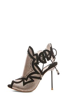 Sophia Webster Yasmin Grain Metallic Leather Geometric Heels in Black