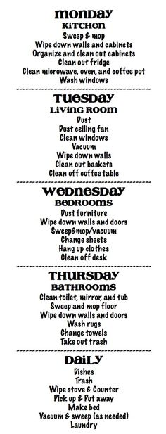 cleaning schedule...I so need this--if I can stick to it. ..