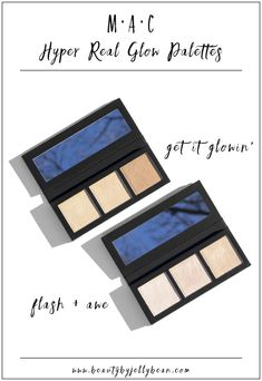 MAC Hyper Real Glow Face Palettes │ MAC has added 2 new face palettes to the permanent line: the Hyper Real Glow Face Palettes in Flash + Awe and Get it Glowin'. These highlighters are supposed to be super intense, but still natural. Did MAC pull it off? Click for my review and swatches! #beautyblogger #maccosmetics
