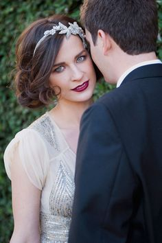Vintage bridal beauty. Hair  makeup by Jen Marine. Shot by Christa Elyce Photography. Gatsby bride, dark lip, vintage makeup, period hair style, engagement photo, 1920's bridal face.