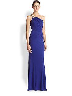 Badgley Mischka One-Shoulder Drape Gown (bridesmaid saksfifthavenue.com)