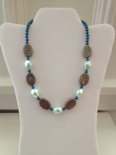 Blue & Pale Mint Pearl Necklace with Silver Detailed Bead Design Pattern --Great for Holiday Gifts! ONE OF A KIND FASHION JEWELRY! *Handmade* SUPER LOW PRICES