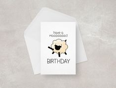 Funny Birthday Card || Sheep || Happy Birthday || Pun Card Who's up for a crazy mad birthday?! Be it your mum, dad, brother, sister or best friend... this card is for them!   Front cover features a cute sheep drawing and handwritten style type. Free Funny Birthday Cards, Big Birthday Cards, Birthday Card Puns, Birthday Cards Images, Happy Birthday Cousin, Funny Happy Birthday Pictures, Birthday Wishes Funny, Happy Birthday Messages, 60th Birthday Quotes