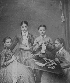 Photo of Czech women knitting crocheting and by ElmstoneIsle,This unusual and rare carte de visite (cdv) original 19th Century photograph is of four young women: one is holding a book, the other three appear to be knitting, crocheting, and making lace (or some other craft). The photograph was taken in Prague. Were they all sisters from one family? Students at a young ladies' school? In any case, an interesting example of women doing handwork.
