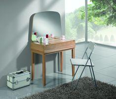 Masa de machiaj din lemn de stejar Mary, L137xl45,8xh80 cm #homedecor #interiordesign #inspiration #makeup Dressing Table, Smart Home, Office Desk, Lak, Mirror, Retro, Interior, Furniture, Design