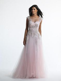 Dave and Johnny - 9814 A long gown with floral details and rhinestones with a tulle skirt in pink at Estelle's Dressy Dresses! #estellesdressydresses #prom2014