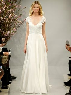 Pearl White 3-d Flowers and Crystal Embroidered Cap Sleeve Over Silk Satin Face Georgette Wedding Dress | Theia Spring 2018