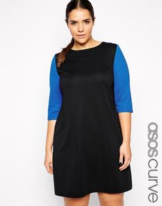 5121b549f27 ASOS CURVE Exclusive Rib Shift Dress in Colour Block Going Out Dresses