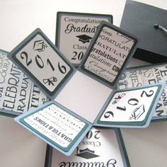 Album Maker, Class Of 2016, Exploding Boxes, Graduation Cards, Green And Grey, Stampin Up, Projects To Try, Etsy, Frame