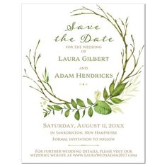 This modern and trendy greenery wedding save the date card features assorted watercolor foliage, leaves, stems and boughs in a round partial wreath shape on a white background. The wording is in a mix of Kraft paper brown and dark green and there are bright green dividers with arrows on the end and watercolor droplets for extra oomph. The back of this green leaves and foliage wedding save the date is finished in a faux Kraft paper look that can be changed to something else, such as a photo…