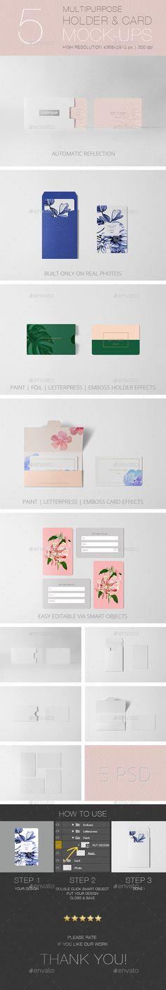 Multipurpose Holder & Card MockUp Vol 2.0 — Photoshop PSD #letterpress #discount card • Available here → https://graphicriver.net/item/multipurpose-holder-card-mockup-vol-20/17772945?ref=pxcr